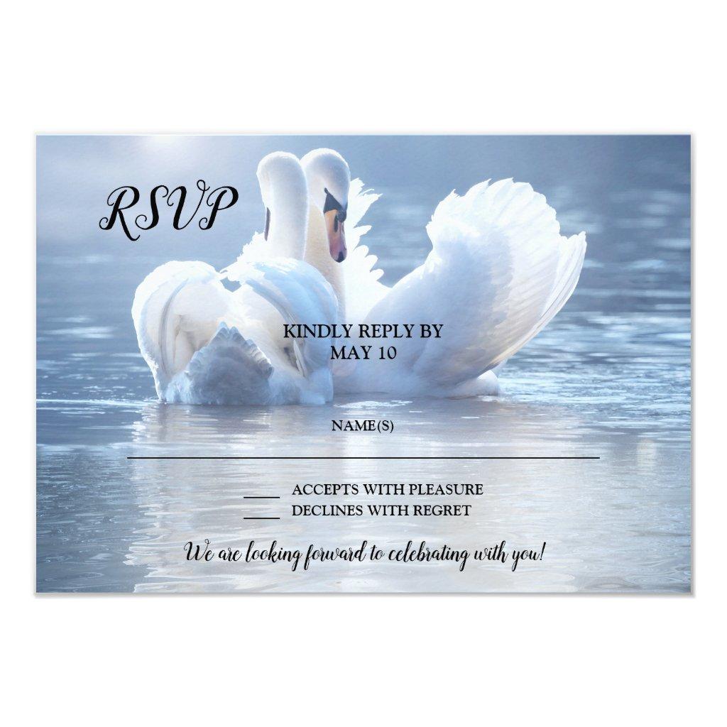 Romantic Lake Swan Love Wedding RSVP Card