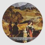 Romantic Landscape In Italy Detail Round Stickers