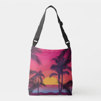 Romantic Landscape with Palm Trees Crossbody Bag