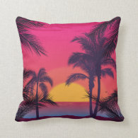Romantic Landscape with Palm Trees Throw Pillow