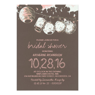 romantic lantern lights vintage bridal shower card