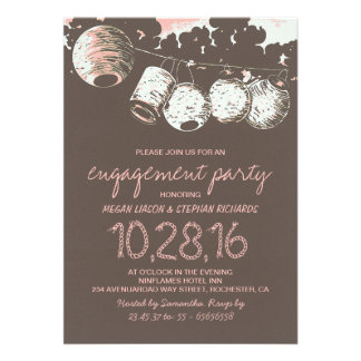 romantic lantern lights vintage engagement party card