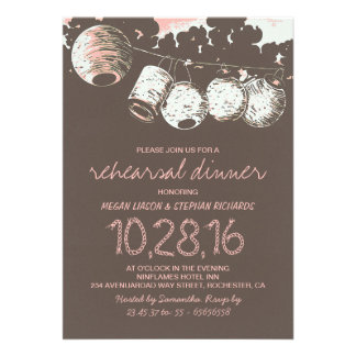 romantic lantern lights vintage rehearsal dinner card