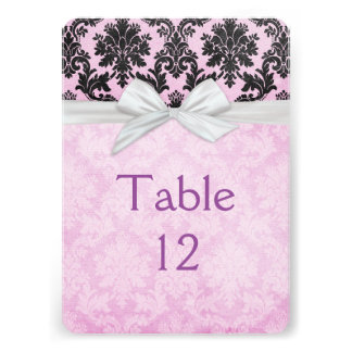 Romantic Lavender Blush Damask Table card