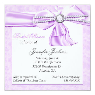 """Romantic Lavender Bridal Shower Invitation 5.25"""" Square Invitation Card"""