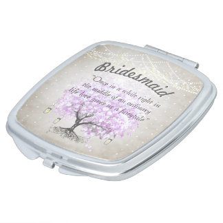 Romantic Lavender Hearleaf Tree Wedding Quote Makeup Mirrors