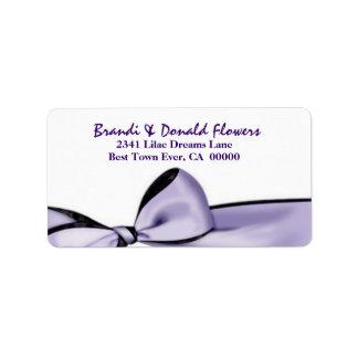 Romantic Lavender Purple Bow Wedding U201 Address Label