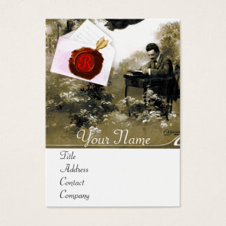 ROMANTIC LETTER HOLDER RED WAX SEAL MONOGRAM BUSINESS CARD