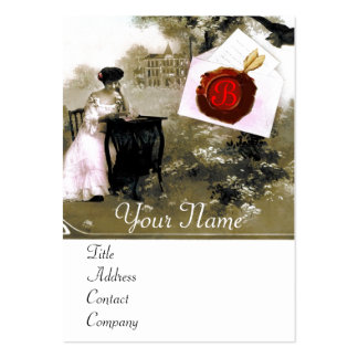 ROMANTIC LETTER HOLDER RED WAX SEAL MONOGRAM LARGE BUSINESS CARD