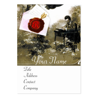 ROMANTIC LETTER HOLDER RED WAX SEAL MONOGRAM LARGE BUSINESS CARDS (Pack OF 100)