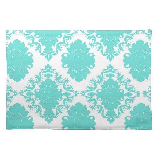 romantic light aqua blue on white elegant damask cloth placemat