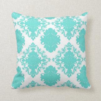 romantic light aqua blue on white elegant damask throw pillow