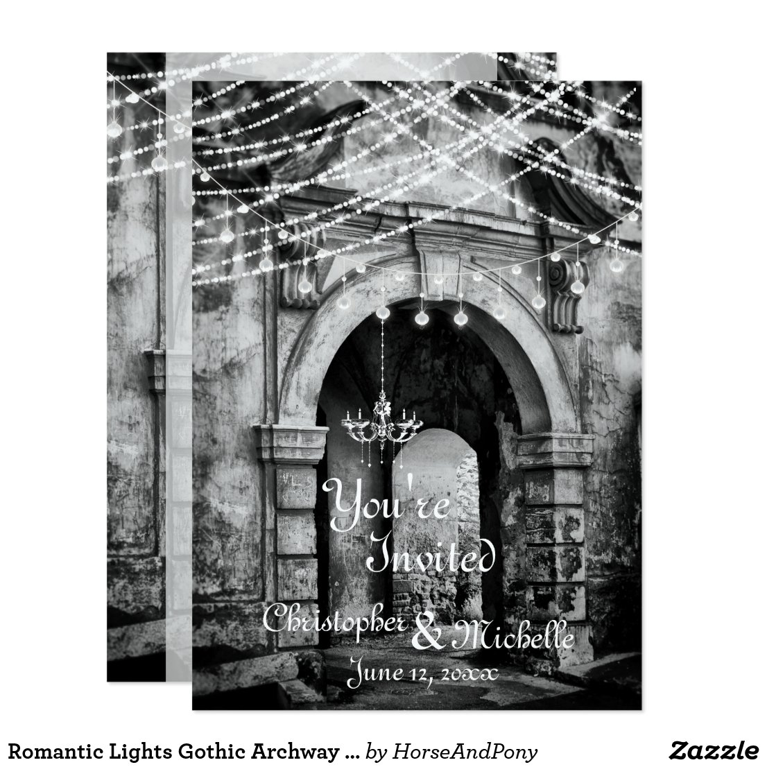 Romantic Lights Gothic Archway Wedding Invitation