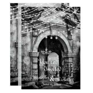 Romantic Lights Gothic Archway Wedding Invitation