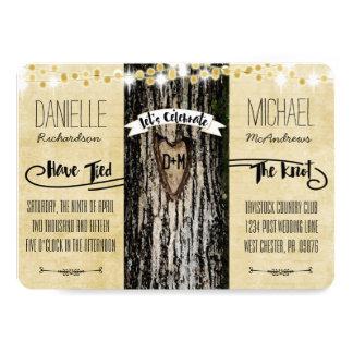 Romantic Lights & Rustic Tree Post Wedding Invite