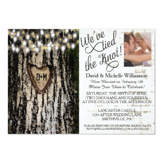 Romantic Lights & Tree Post Wedding Photo Invite