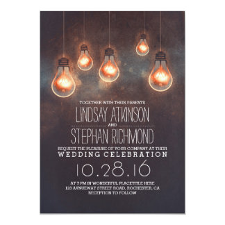romantic lights vintage whimsical wedding invites