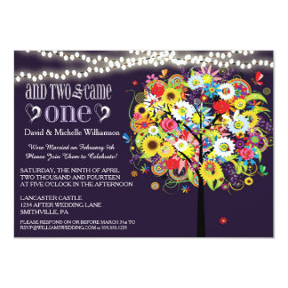 "Romantic Lights Whimsical Tree Post Wedding Invite 4.5"" X 6.25"" Invitation Card"