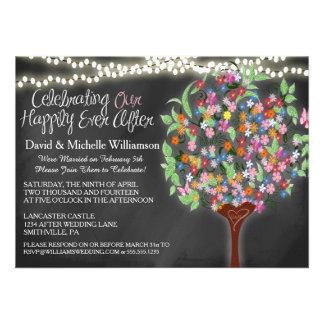Romantic Lights Whimsical Tree Post Wedding Invite Announcement