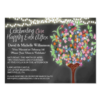 Romantic Lights Whimsical Tree Post Wedding Invite Announcement