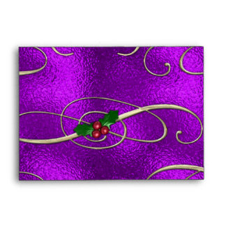 Romantic Lilac Christmas Swirls Envelope