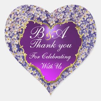 ROMANTIC LILAC HEART MONOGRAM Thank you Heart Sticker