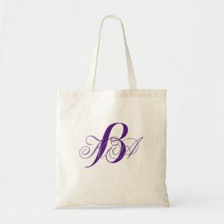 romantic lilac ombre purple monograms bridesmaid tote bag