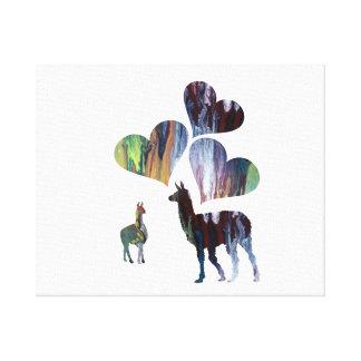 Romantic Llama Art Canvas Print