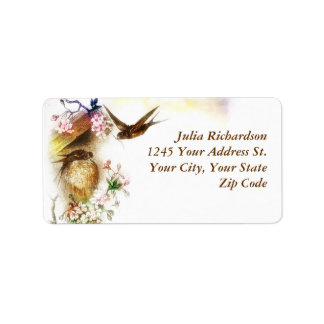 romantic love birds wedding address labels