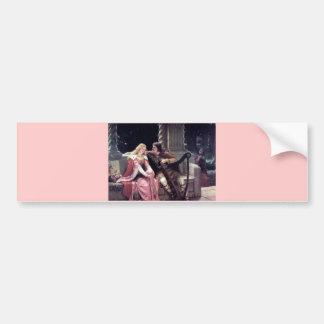 Romantic Love Couple Music Harp Man Woman painting Bumper Sticker