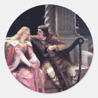 Romantic Love Couple Music Harp Man Woman painting Classic Round Sticker