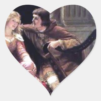 Romantic Love Couple Music Harp Man Woman painting Heart Sticker