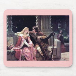 Romantic Love Couple Music Harp Man Woman painting Mouse Pad