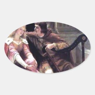 Romantic Love Couple Music Harp Man Woman painting Oval Sticker