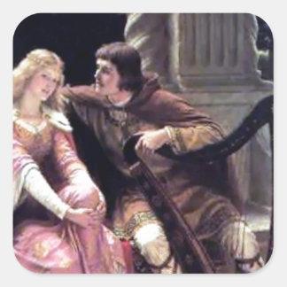 Romantic Love Couple Music Harp Man Woman painting Square Sticker
