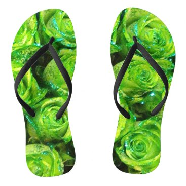 Beach Themed Romantic Love Green Glitter Roses Flip Flops