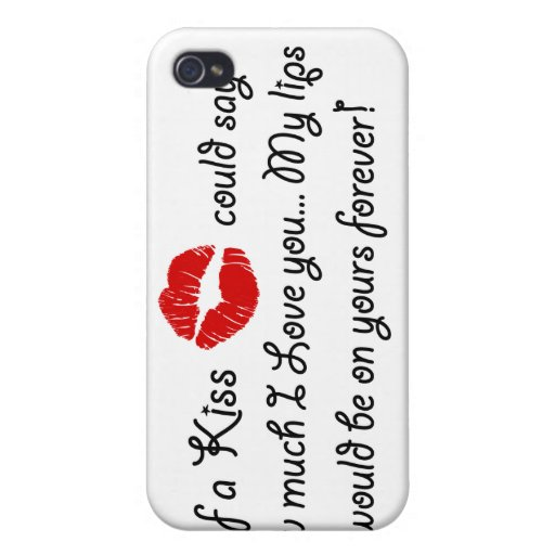 Romantic Love Kiss Quote Kissing Romance quotation iPhone 4/4S Cover