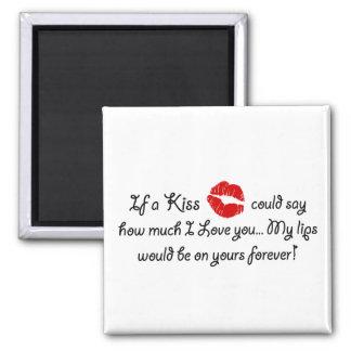 Romantic Love Kiss Quote Kissing Romance quotation Magnet