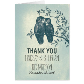 romantic love owls couple wedding thank you cards