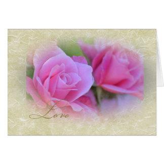 Romantic Love Pink Roses Card
