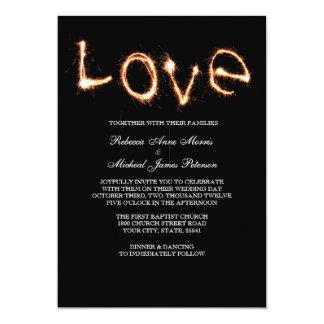 "Romantic Love Sparklers Wedding Invitation 5"" X 7"" Invitation Card"
