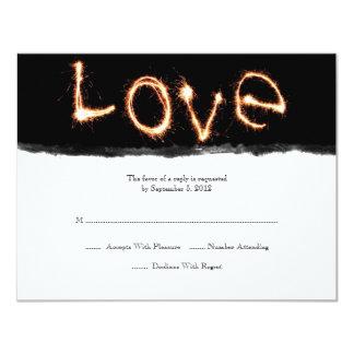 "Romantic Love Sparklers Wedding RSVP 4.25"" X 5.5"" Invitation Card"