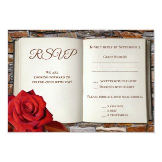 Romantic Love Story Book Wedding RSVP Card