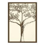 Romantic Love Tree Initials in Trunk Wedding Custom Announcements