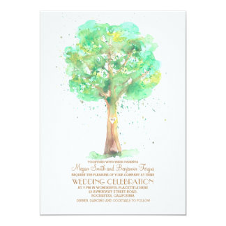 Romantic Love Tree Watercolor Wedding Invites
