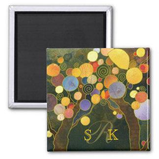 Romantic Love Trees Monogram Wedding Keepsake 2 Inch Square Magnet