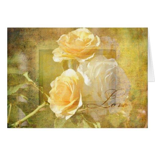 Romantic Love Yellow Roses Card