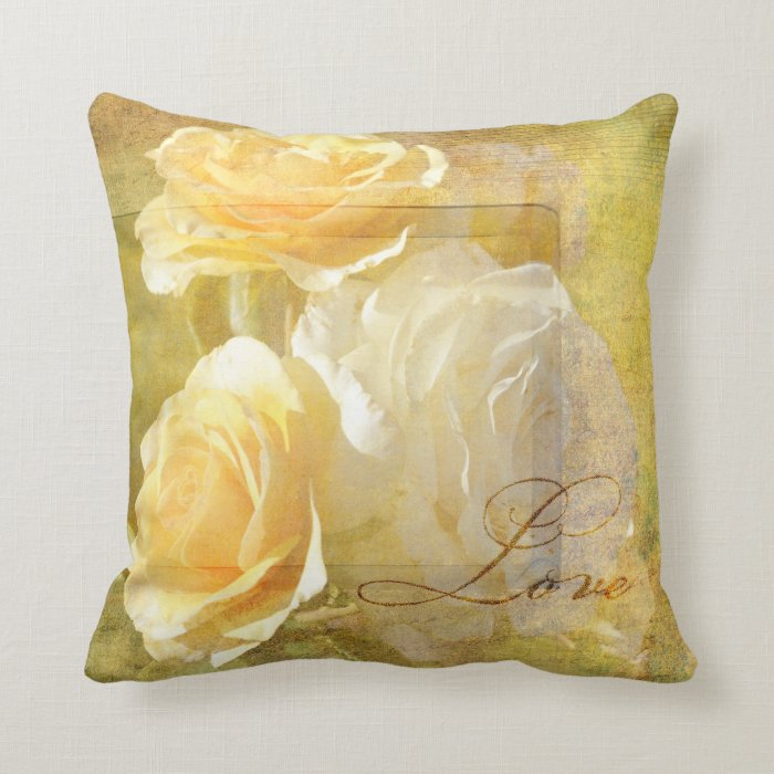 Romantic Love Yellow Roses Throw Pillow
