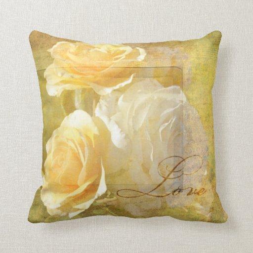 Romantic Love Yellow Roses Throw Pillows