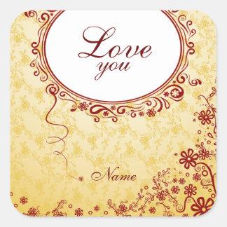 Romantic Love You Square Sticker